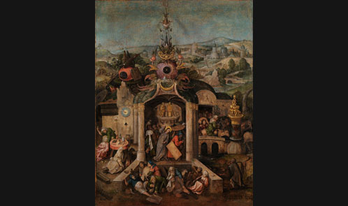 Unknown artist in a manner of Hieronymus Bosch (1450-1516), Christ Driving the Money-lenders from the Temple. C. 1600. Oil on panel. 77,7 x 60 cm. Glasgow City Council (Glasgow Museums)