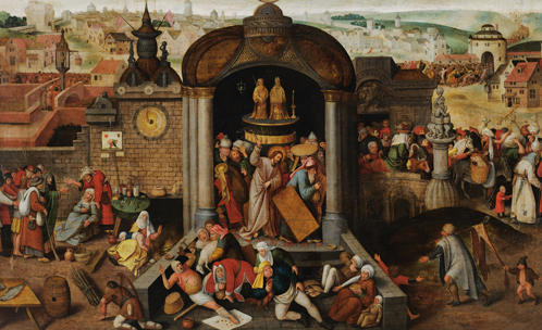 Unknown Netherlandish artist in a manner of Hieronymus Bosch (1450-1516) and Pieter Bruegel the Elder (1526/30-1569), Christ driving the Money-lenders from the Temple. C. 1570 Oil on panel. 91 × 150 cm. Kadriorg Art Museum, Tallinn