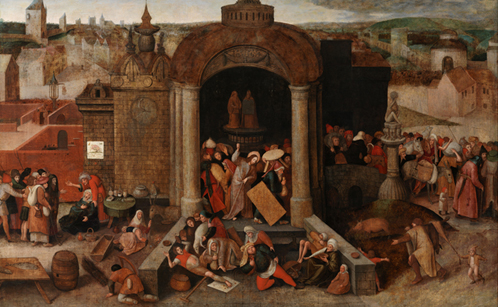 Unknown Netherlandish artist in a manner of Hieronymus Bosch (1450-1516) and Pieter Bruegel the Elder (1526/30-1569), Christ Driving the Money-lenders from the Temple. C. 1563-69. Oil on panel. 101,7/101,9 x 155,3 cm. National Gallery of Denmark, Copenhagen