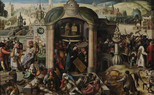 Follower of Hieronymus Bosch (1450-1516)/ Circle of Jan Mandijn (c. 1500-1560)?, Christ Driving the Money-lenders from the Temple. Oil on panel. 115,7 x 173,1 cm. Private collection.